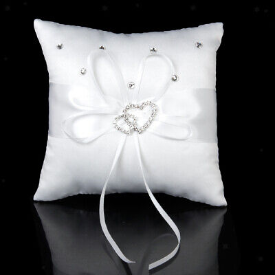 """Wedding Ring Bearer Pillow Cushion with Ribbon Bowknot Crystal Double Heart 6"""""""