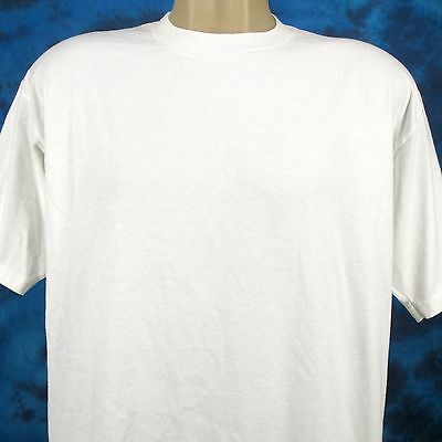 vintage 80s BLANK WHITE JERZEES T-Shirt LARGE beach surf super soft thin 90s