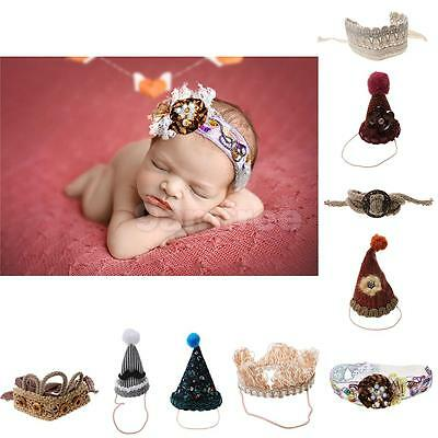 Newborn Infant Baby Knitted Crochet Photography Props Hats Cute Costume Headband