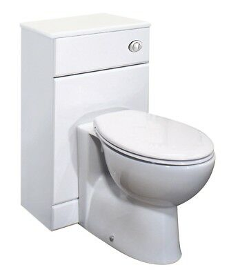 White Gloss Bathroom WC Toilet Vanity Unit with Back to Wall BTW Pan & Cistern
