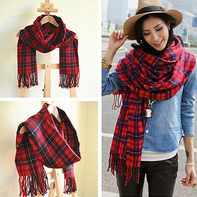 Winter Warm Women Tartan Plaid Large Scarf  Shawl Stole Pashmina Scottish Red UK