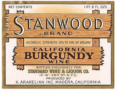 C1930S Stanwood Wine Bottle Label Madera California Original Vintage Burgundy