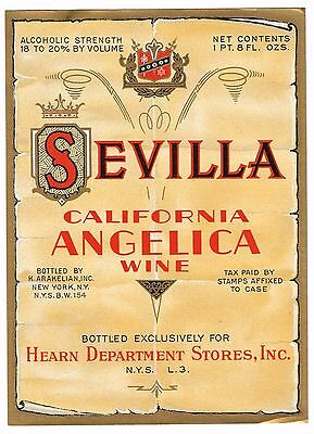 C1930S Sevilla Wine Bottle Label Vintage Original California Hearn Ny Angelica