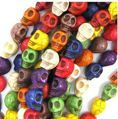 100Pcs Turquoise Carved Skull Beads  9x7mm Loose Spacer Beads Jewelry Making
