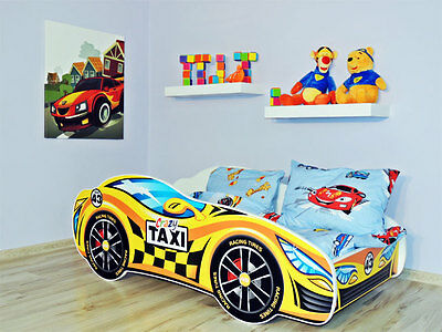 Racing Car Bed YELLOW, Childrens Bed with mattress (140x70cm) for Kids + Pillow