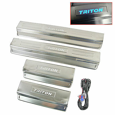 LED Light Door Step Sill Scuff Plate For Mitsubishi Triton L200 4 Door 05-14
