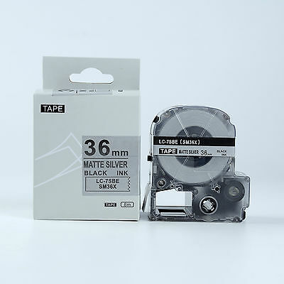 2PK Compatible EPSON LC-7SBE Label Tape Black on Matte Silver 36mm 8m LW700 900