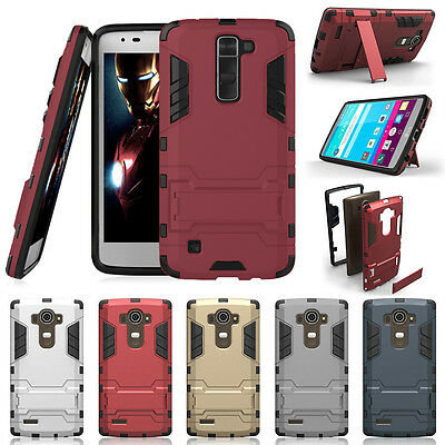 Hybrid Hard Soft Rubber Phone Case Cover / Stand +Protector Film For LG K7