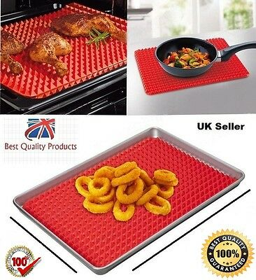 SALE! Pyramid Fat Reducing Silicone Baking Tray Oven Pan Cooking Mat 40×28cm UK