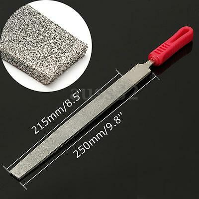 10'' 250mm 120 Grit Alloy Long Diamond Coated Flat File Filing Stone Thick 5mm