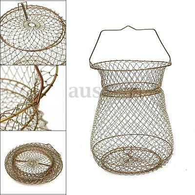 25cm Fordable Steel Gold Wire Floating Fish Basket Fishing Tackle Accessory