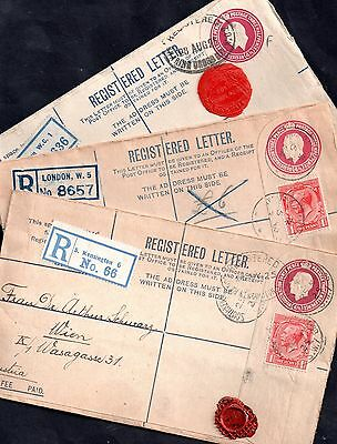GB KGV 3 x different registered postal history covers WS1652