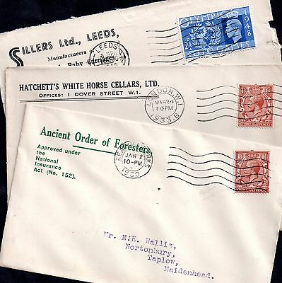 GB KGV KGVI 3 x Commercial Postal History covers WS1651
