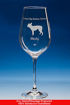 Boston Terrier Dog Gift Personalised Engraved Fine Quality Wine Glass