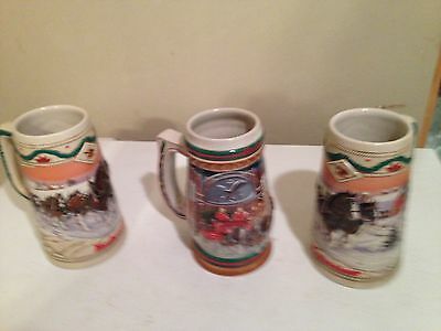 3 BUDWEISER CHRISTMAS HOLIDAY BEER STEINS MUGS - 2 From 1996 And 1 From 1997
