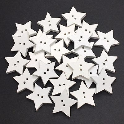 40 24mm LARGE WOODEN WHITE STAR BUTTONS - CRAFT - SCRAPBOOK - SEW - CARDMAKING
