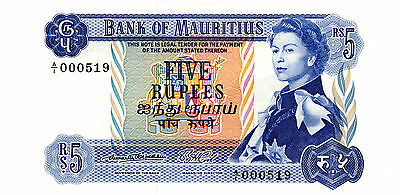 Mauritius ... P-30a ... 5 Rupees ... ND(1967) ... *UNC*--Sign # 1--Low serial #