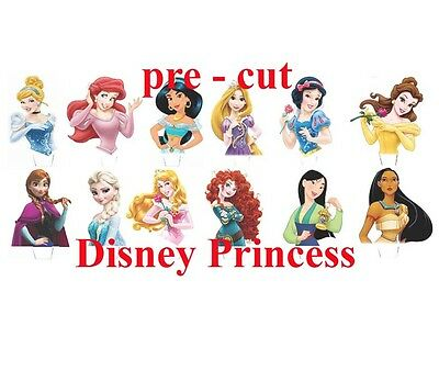24 x Mixed Disney Princess Stand Up Edible Wafer cupcake toppers