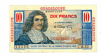 Guadalupe… P-32 … 10 Francs … ND(1947-49) … *F/VF*