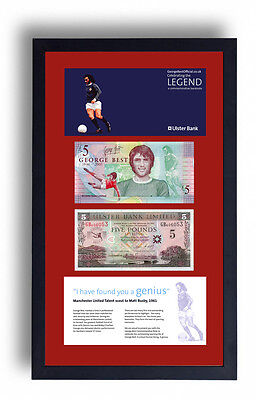 2 Framed George Best Limited Edition Legal Tender £5 Pound Note Fiver Banknote