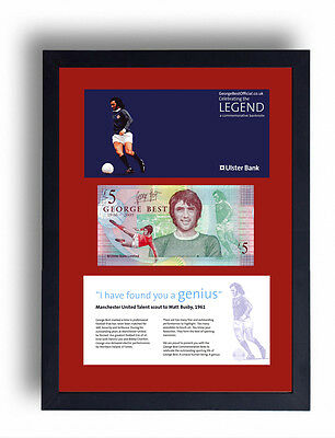 Framed Ltd Edition George Best Fiver Note £5 Pound Manchester United Banknote