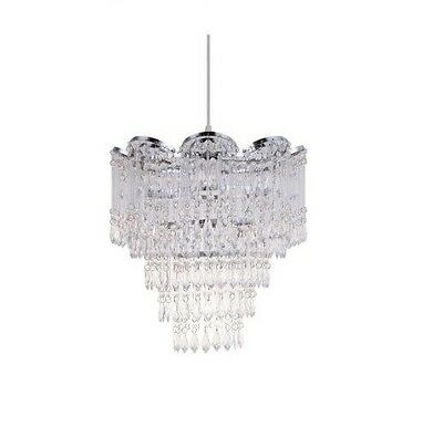 Contemporary Chandelier Style Clear Jewelled Acrylic Pendant Ceiling Shade