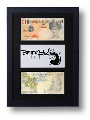 2 Framed Mounted Banksy Difaced £10 Note Tenners & You Lie Rat Print Ten Pound