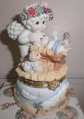 NIB Dreamsicles CHERUB IN MANGER #10456 Figurine, Trinket Box ~ Cherub with Baby