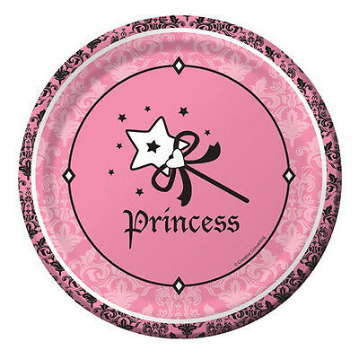 ~ First Party Supplies Dinner 1st BIRTHDAY Pink and Gold LARGE PAPER PLATES 8