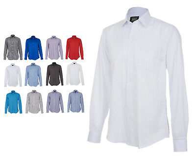 Mens Classic Long Sleeve Easy Care Formal Shirts Size 14.5 to 19.5 Collar By MIG