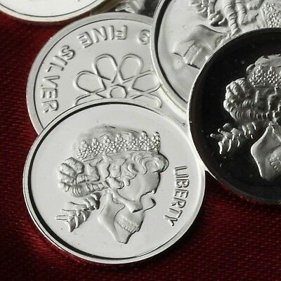 Skull Queen Lot of 30 - 1g .999 Fine Silver Round Bar / Mini Silver Coin  RE324