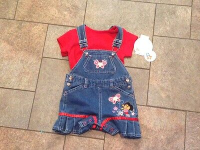 NWT Dora the Explorer Denim Overalls Shortalls Shorts 2 Pc outfit Red Shirt 12 m
