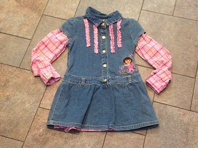NWT Dora the Explorer Denim Dress Pink Flannel Ruffles Outfit Size 6