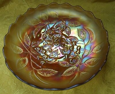 "EAPG Beautiful Millersburg Marigold Carnival Glass 11"" Cherry Pattern Bowl"