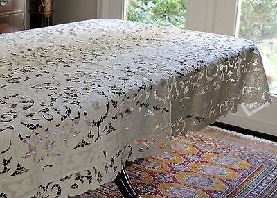 Exquisite Madeira Ecru Linen All Cutwork Embroidery 66x98 Tablecloth +10 Napkins