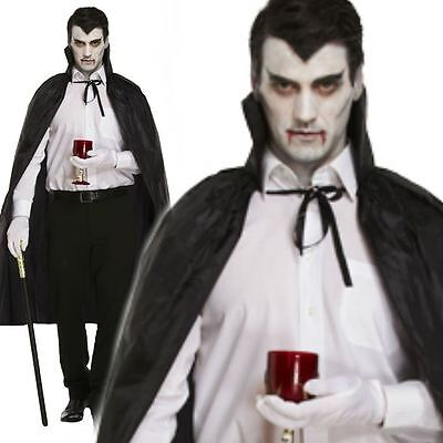 Adult Vampire Black Cape With Collar Halloween Fancy Dress Costume Accessory