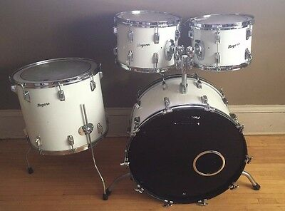 Vintage 1970's Rogers New England White 4 Piece Drum Kit Set
