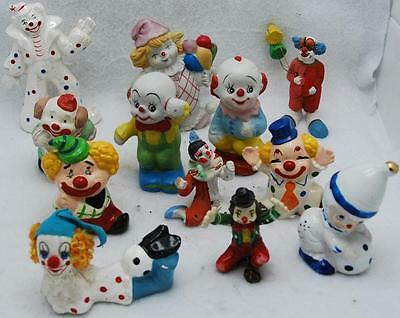 Lot Of 12 Assorted Vintage Ceramic Clown Figurines, Collectible And Hand Painted