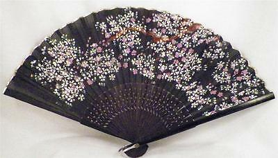 Antique Folding Fan Cherry Blossoms Hand Painted Black Silk Wood Guards & Sticks
