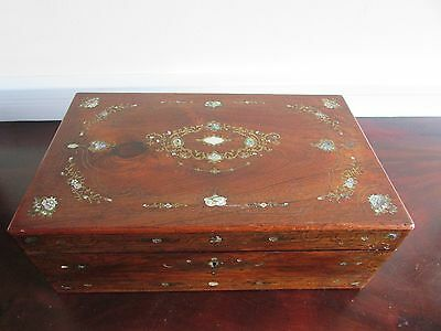 Brass  and Mother of Pearl Inlaid Rosewood Writing Slope c.1850-70
