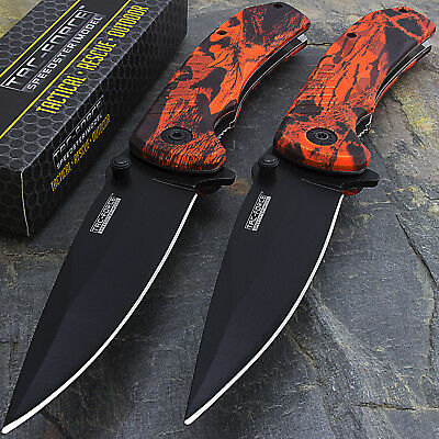 "2 x 8"" TAC FORCE EDC RED CAMO SPRING ASSISTED TACTICAL POCKET KNIFE Open Assist"