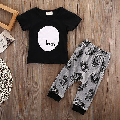 2Pcs Toddler Kids Baby Boy T-shirt Tops Casual Pants Trousers Clothes Outfit Set