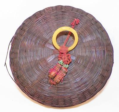 Vintage Wicker Sewing Basket Yellow Glass Ring Tassels Brown Small Made China