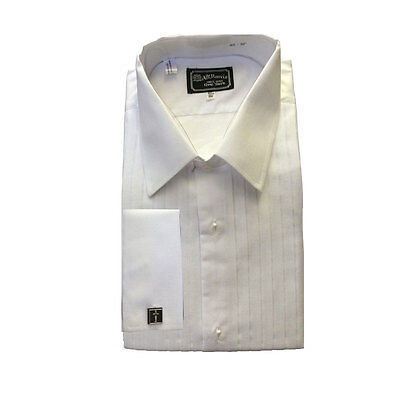 Vintage AT Harris White Cotton Pleated Lay Down Collar Tuxedo Shirt French Cuffs