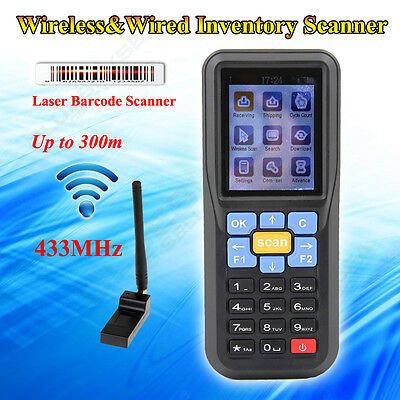 433Mhz Wireless EAN13 UPC-A/E Barcode Scanner Data Inventory Collector W/Battery