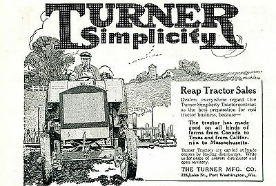1919 Original TURNER Simplicity TRACTOR AD. Port Washington, Wisconsin