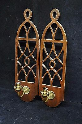 """2 Distressed Mahogany Wall Hanging Candle Light Sconces Fretwork Vintage 21"""""""