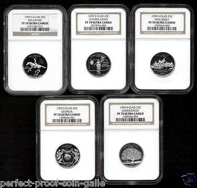1999-S Statehood Quarter 5 coin set - (25¢) - NGC PF70 Ultra Cameo