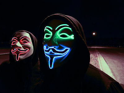 LED V For Vendetta Movie Costume Mask Guy Fawkes Anonymous Halloween Cosplay wfm