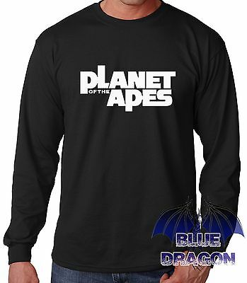 "T-Shirt Noire Manche Longue "" Planet Of The Apes "" Longue Manche T-Shirt Black"